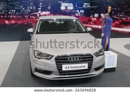 "BELGRADE-MARCH 21:""52th INTERNATIONAL MOTOR SHOW "".Car Audi A3 Limousine on Belgrade car show.March 21,2015 in Belgrade,Serbia. - stock photo"