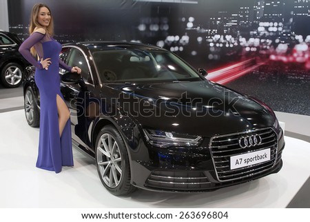 "BELGRADE-MARCH 21:""52th INTERNATIONAL MOTOR SHOW "".Car Audi A7 sportback on Belgrade car show.March 21,2015 in Belgrade,Serbia. - stock photo"