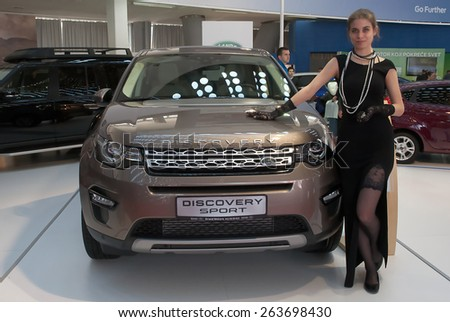 "BELGRADE-MARCH 21:""52th INTERNATIONAL MOTOR SHOW "".Car Lend Rover DISCOVERY SPORT on Belgrade car show.March 21,2015 in Belgrade,Serbia. - stock photo"