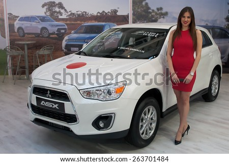 "BELGRADE-MARCH 21:""52th INTERNATIONAL MOTOR SHOW "".Car Mitsubishi ASX on Belgrade car show.March 21,2015 in Belgrade,Serbia. - stock photo"
