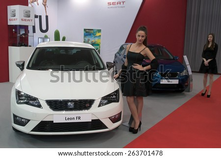 "BELGRADE-MARCH 21:""52th INTERNATIONAL MOTOR SHOW "".Car Seat Leon FR on Belgrade car show.March 21,2015 in Belgrade,Serbia. - stock photo"