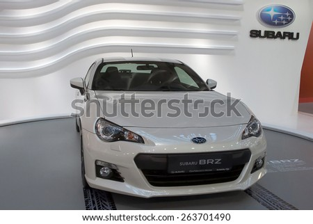 "BELGRADE-MARCH 21:""52th INTERNATIONAL MOTOR SHOW "".Car Subaru BRZ on Belgrade car show.March 21,2015 in Belgrade,Serbia. - stock photo"