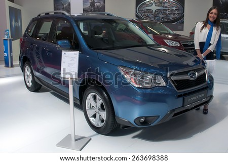 "BELGRADE-MARCH 21:""52th INTERNATIONAL MOTOR SHOW "".Car Subaru FORESTER on Belgrade car show.March 21,2015 in Belgrade,Serbia. - stock photo"