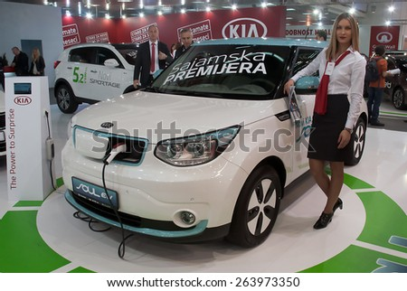 "BELGRADE-MARCH 21:""52th INTERNATIONAL MOTOR SHOW "".Carr KIA CARENS on Belgrade car show.March 21,2015 in Belgrade,Serbia. - stock photo"