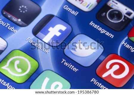 BELGRADE - MAY 28, 2014 Social media icons Facebook, Twitter and other on smart phone screen close up - stock photo