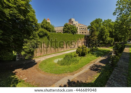 Belgrade medieval walls of fortress and park in day time, Serbia
