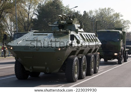 BELGRADE-OCTOBER12:Mine Resistant Ambush Protecte vehicle.On preparations for the parade Serbian Army.On October 12,2014 in Belgrade,Serbia  - stock photo