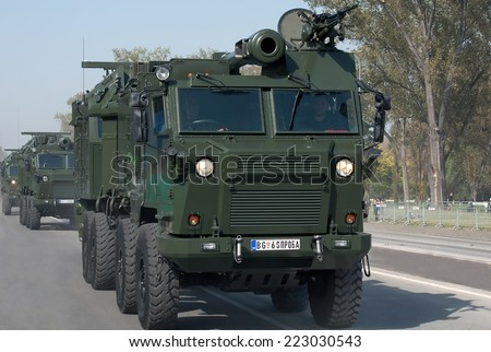 BELGRADE-OCTOBER12:Self-propelled guns.On preparations for the parade Serbian Army.On October 12,2014 in Belgrade,Serbia