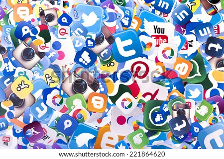 BELGRADE - OCTOBER 06, 2014 Social media logos Facebook, Twitter and other printed on paper - stock photo