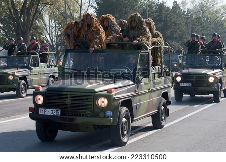 BELGRADE-OCTOBER12:Special unit of the Serbian army in camouflage uniforms.On preparations for the parade Serbian Army.On October 12,2014 in Belgrade,Serbia  - stock photo