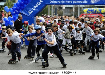 "BELGRADE - OCTOBER 3: Unidentified children compete at the ""13th Chipsy Belgrade Rollerskates Race"" on October 3, 2010 in Belgrade, Serbia"
