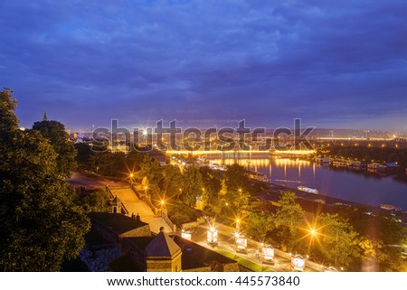 Belgrade old fortress wall and confluence of two rivers at night