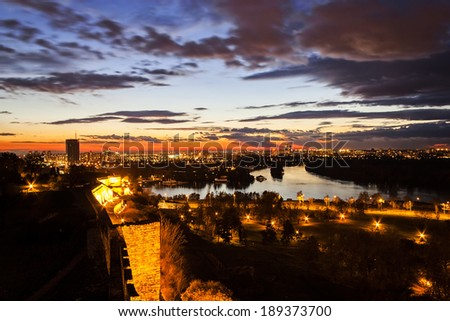 Belgrade, panoramic view from Kalemegdan - stock photo