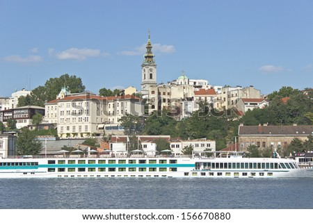 Belgrade river harbor and old town - stock photo