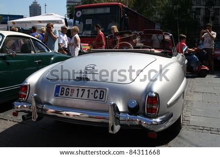 BELGRADE - SEPTEMBER 3: A Mercedes 190 SL on Oldtimer's Car Show September 3, 2011 in Belgrade, Serbia. - stock photo