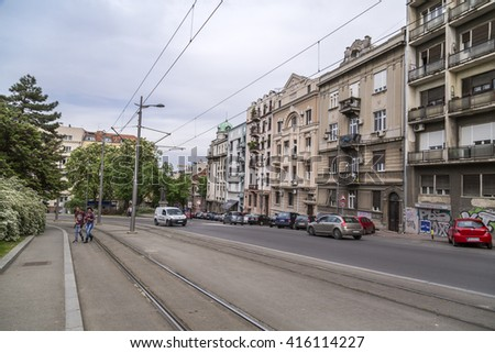 Belgrade, Serbia - April 18, 2016: Architectural detail and street view from central Belgrade the Serbian capital on April 18.