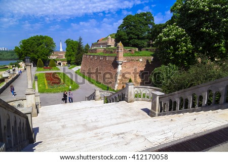Belgrade, Serbia - April 19, 2016: Kalemegdan (Kalemeydan; Fortress Square in Turkish) Park and Fortress by the Danude and Sava Rivers built in Ottoman Empire period in Belgrade.