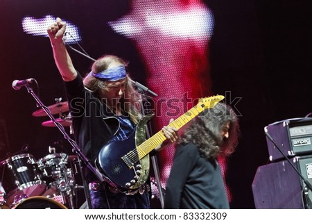 "BELGRADE, SERBIA - AUGUST 21 : Guitarist Uli Jon Roth (ex. Scorpions) and his band performs onstage at Belgrade BeerFest 2011 at ""Usce"" August 21, 2011 in Belgrade, Serbia."