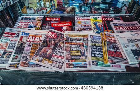 Belgrade, Serbia - August 29, 2015. News stand in Belgrade city - stock photo