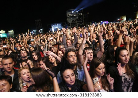 Belgrade, Serbia - August 20, 2015: The crowd at Traditional Beer Fest in Belgrade, next to good music to audience offered and beer, this year lasted 6 days.