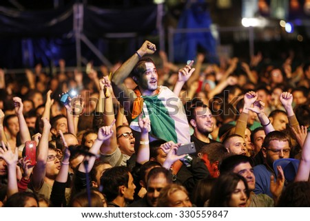 Belgrade, Serbia - August 22, 2015: The crowd at Traditional Beer Fest in Belgrade, next to good music to audience offered and beer, this year lasted 6 days.
