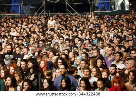 Belgrade, Serbia - August 22, 2015: The crowd at Traditional Beer Fest in Belgrade, next to good music to audience offered and beer, this year lasted 6 days. - stock photo