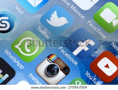 BELGRADE, SERBIA - FEBRUARY 08, 2015: Popular social media icons Twitter, Facebook, Whatsapp, Instagram, Youtube and other on smart phone screen close up - stock photo