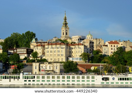 BELGRADE, SERBIA - JUNE 6: Belgrade, view form the river to the oldest buildings in city center on June 6 2016