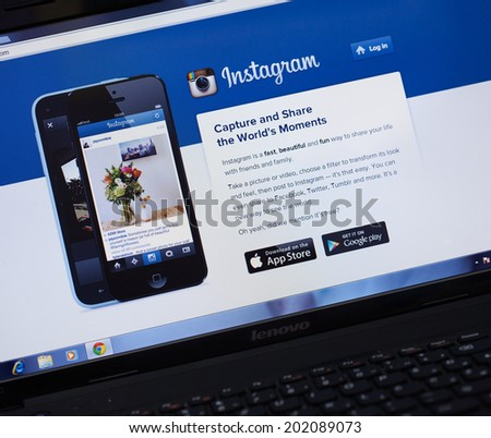 BELGRADE, SERBIA - JUNE16, 2014: Instagram homepage on laptop screen. Illustrative editorial.
