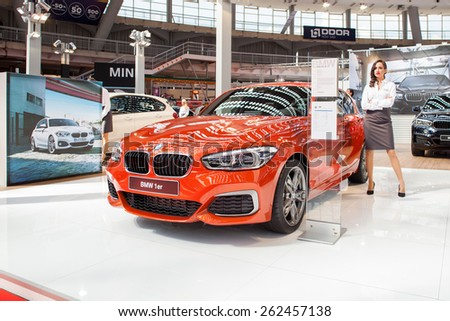 Belgrade, Serbia - March 19, 2015: BMW 1er presented at Belgrade 52nd International Motor Show - MSA (OICA), press day.  - stock photo