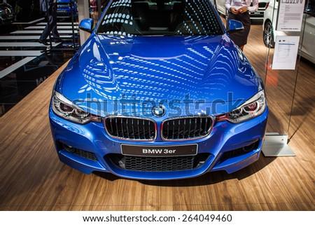 Belgrade, Serbia - March 19, 2015: BMW 3er presented at Belgrade 52nd International Motor Show - MSA (OICA), press day.  - stock photo