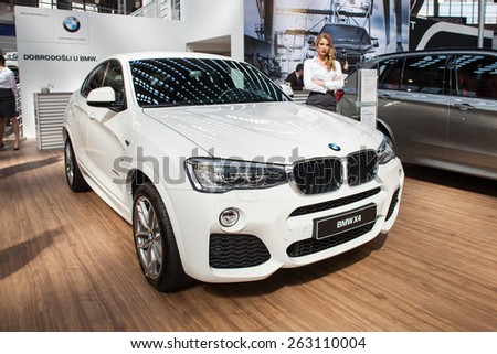 Belgrade, Serbia - March 19, 2015: BMW X4 presented at Belgrade 52nd International Motor Show - MSA (OICA), press day.  - stock photo