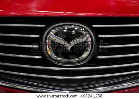 BELGRADE, SERBIA - MARCH 28, 2017: Detail from Mazda car in Belgrade, Serbia. Mazda is Japanese multinational automaker founded at 1920.