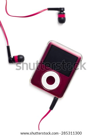 Belgrade, SERBIA - March 20, 2014: IPod Nano isolated on white background with earphones. - stock photo