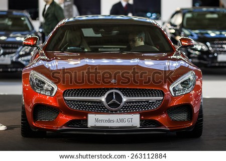 Belgrade, Serbia - March 19, 2015: MERCEDES AMG GT S presented at Belgrade 52nd International Motor Show - MSA (OICA), press day.  - stock photo