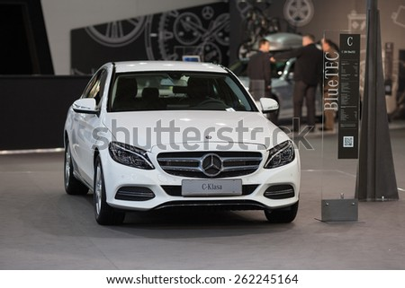 Belgrade, Serbia - March 19, 2015: MERCEDES C200 BlueTEC presented at Belgrade 52nd International Motor Show - MSA (OICA), press day.  - stock photo
