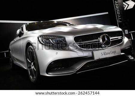 Belgrade, Serbia - March 19, 2015: MERCEDES S63 AMG Luxury Sports Coupe presented at Belgrade 52nd International Motor Show - MSA (OICA), press day.  - stock photo