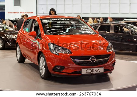 Belgrade, Serbia - March 25, 2015: Opel Corsa presented at Belgrade 52nd International Motor Show - MSA (OICA). - stock photo