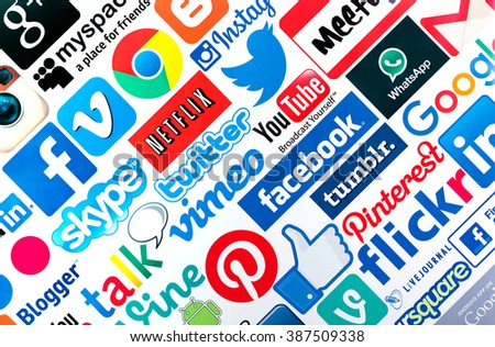 BELGRADE, SERBIA - MARCH 08 2016 : Popular social media icons such as Facebook, Twitter, Google, You tube, Vimeo, Blogger, Linkedin, Tumblr, Myspace and others, printed on white paper - stock photo