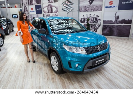 Belgrade, Serbia - March 19, 2015: Suzuki Vitara presented at Belgrade 52nd International Motor Show - MSA (OICA), press day.  - stock photo