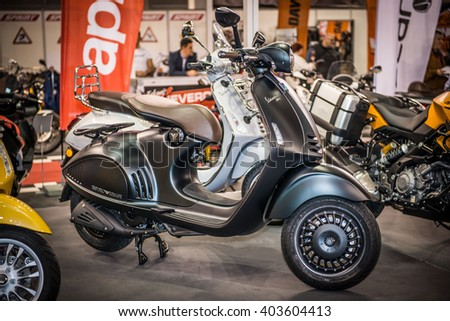 Belgrade, Serbia - March 17, 2016: Vespa presented at Belgrade DDOR BG CARSHOW 05 & MOTOPASSION.