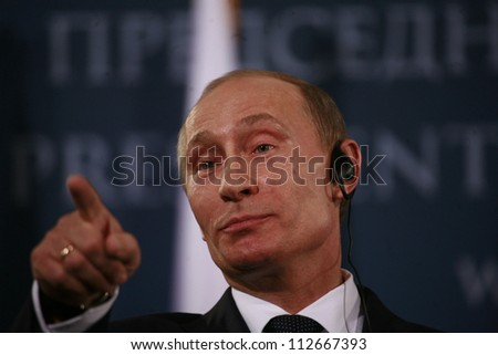 BELGRADE, SERBIA - MARCH 23. 2011 - Vladimir Vladimirovich Putin, President of Russia and former Prime Minister of Russia is attending press conference during his visit in Belgrade, Serbia. March 23 2011