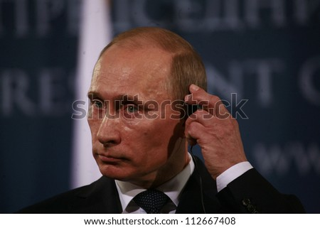 BELGRADE, SERBIA - MARCH 23. 2011 - Vladimir Vladimirovich Putin, President of Russia and former Prime Minister of Russia is attending press conference during his visit in Belgrade, Serbia. March 23 2011.