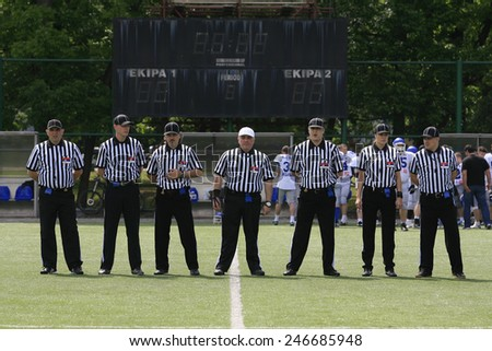 Belgrade, Serbia - May 05, 2014: Judges before the start of the game. American Football Match Between Belgrade Wolves And Blue Dragon in Belgrade. The Wolves team is winner. - stock photo