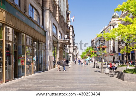 BELGRADE, SERBIA - MAY 15: Knez Mihailova Street on May, 15, 2013, Belgrade, Serbia. It is the main pedestrian and shopping zone in Belgrade. - stock photo