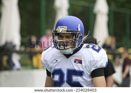 Belgrade, Serbia - May 05, 2014: The Blue Dragons players. American Football Match Between Belgrade Wolves And Blue Dragon in Belgrade. The Wolves team is winner.