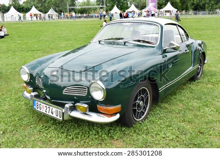 BELGRADE, SERBIA - MAY 24: Volkswagen Karmann Ghia oldtimer car presented at the Belgrade Manifest, the first major festival of events on May 24, 2015 in Belgrade, Serbia