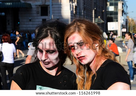BELGRADE, SERBIA - OCT 20: Unidentified people at the first zombie festival and concert music held at Prince Michael suare on October 20, 2012 in Belgrade, Serbia - stock photo