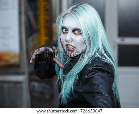 Belgrade, Serbia - October 30, 2017: Belgrade ZOMBIE WALK - Festival of Serbian Fantastic Film. People dressed as a zombie parades on a street during a zombie walk in Belgrade.