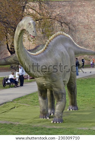 BELGRADE, SERBIA - OCTOBER 21, 2014: Diplodocus, replicas of a dinosaurs in life-size at Kalemegdan fortress on October 21, 2014 in Belgrade.  - stock photo